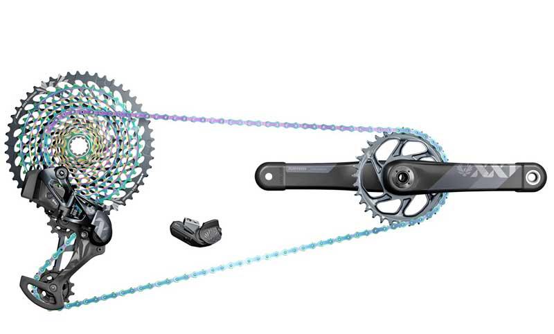 El Eagle AXS tiene la opción de montar una cadena y un cassette arcoíris.